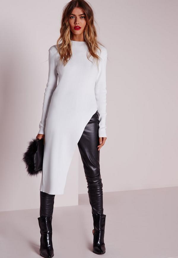 Asymmetric Slashed Long Sleeve Top White