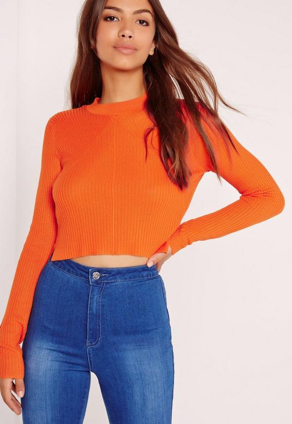 Skinny Ribbed Jumper Orange