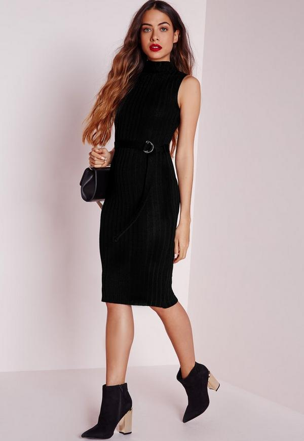 D-Ring Knitted Midi Dress Black