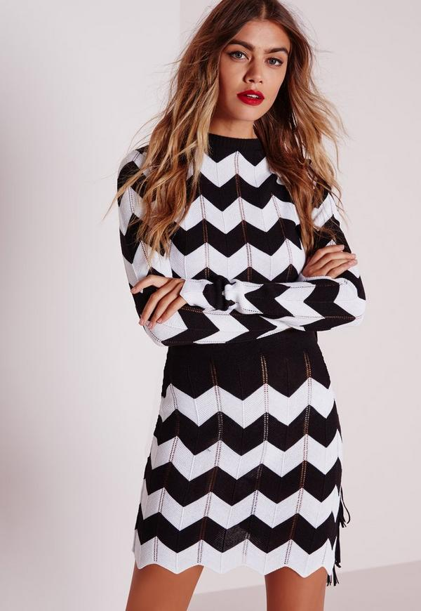 Zig Zag Knitted Skirt Monochrome