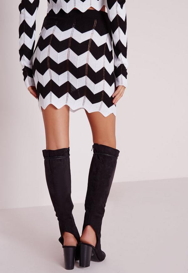 Zig Zag Knitted Skirt Monochrome