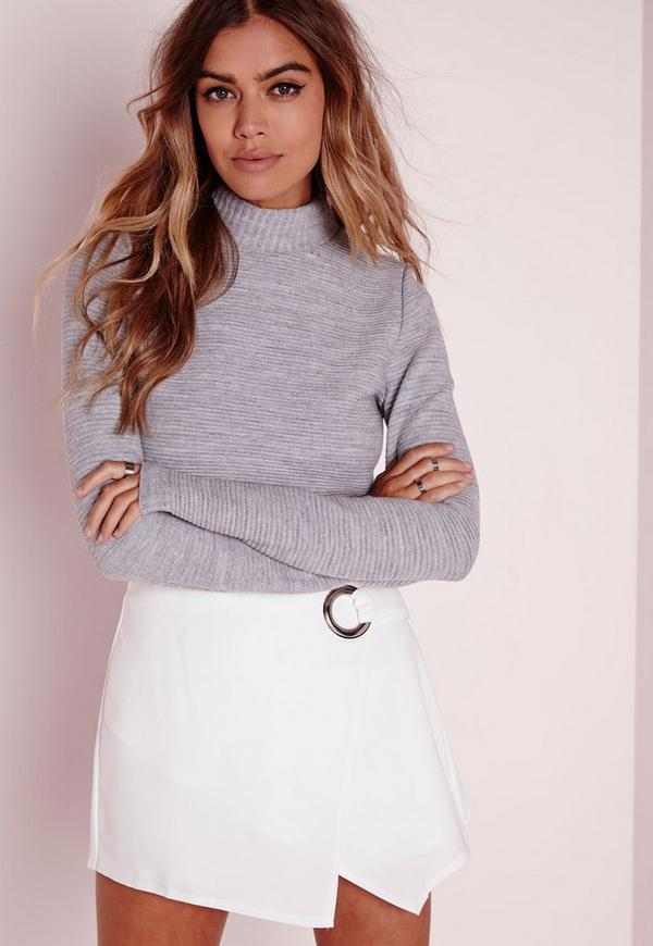 Grey Fluffy Turtleneck Cropped Sweater | Missguided