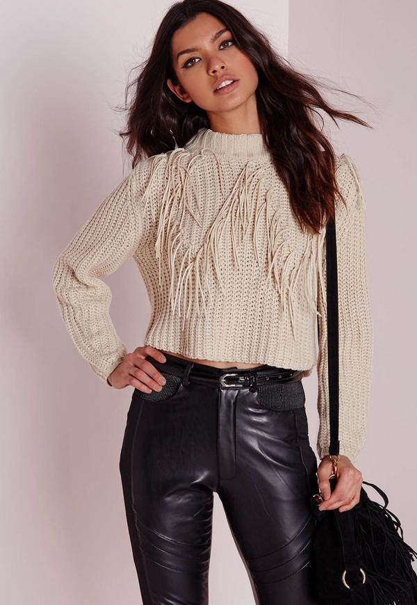 Faux Suede Fringed Crop Jumper Nude