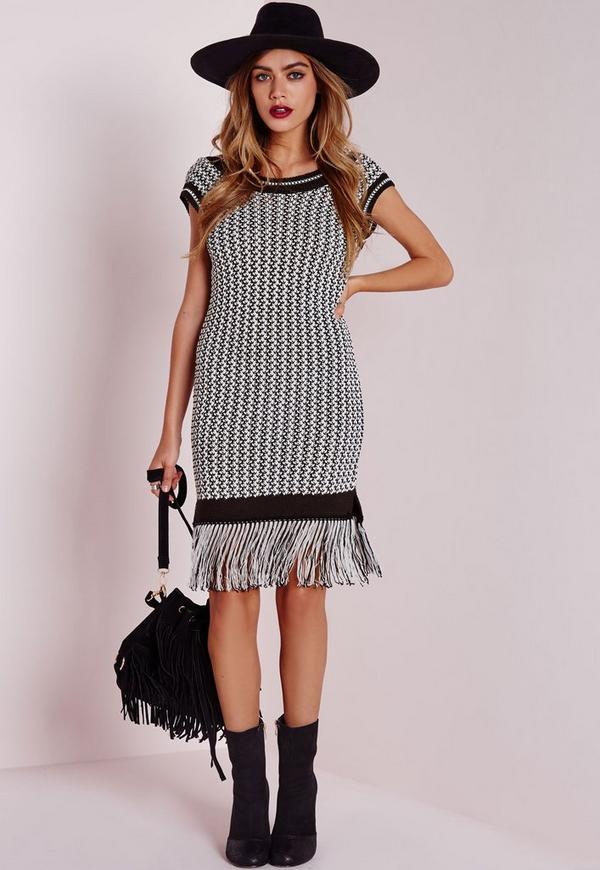 Fringed Scoop Back Knitted Mini Dress Multi