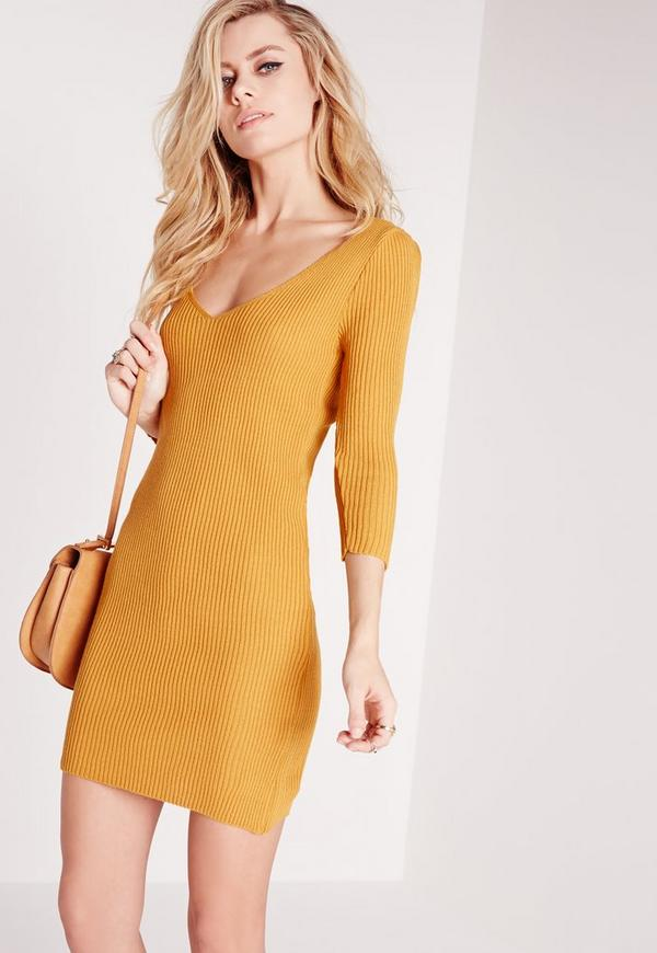 deep plunge knitted mini dress mustard