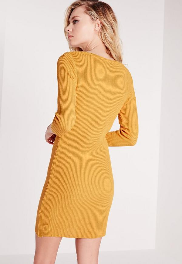 Deep plunge mini dress yellow knitwear jumper dresses missguided