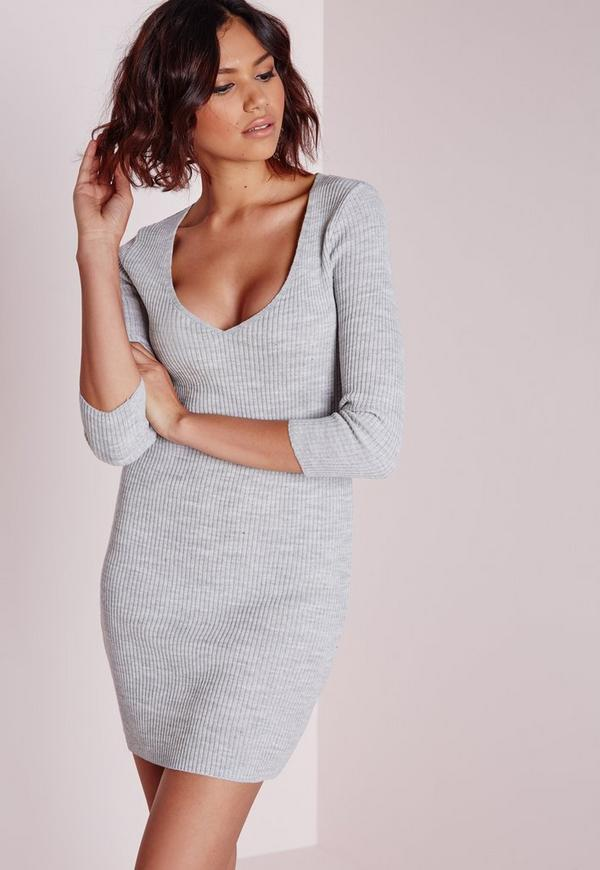 deep plunge knitted mini dress grey marl