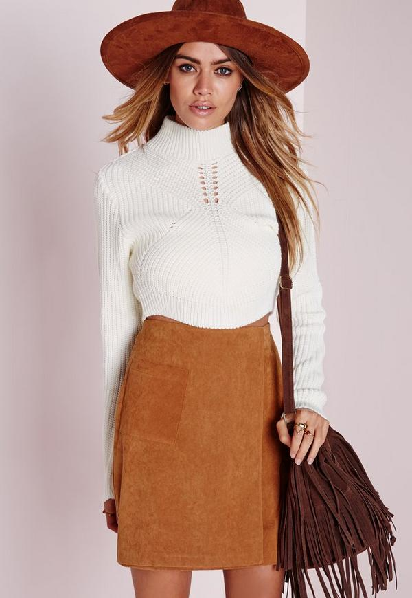 Panelled Rib Cropped Jumper Cream