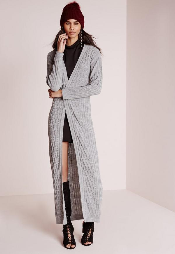 Cable Maxi Cardigan Grey