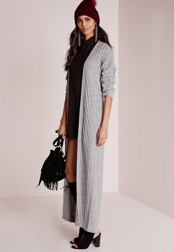 Cable Maxi Cardigan Grey | Missguided
