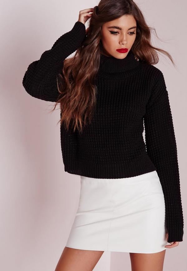 Fisherman Stitch Roll Neck Jumper Black