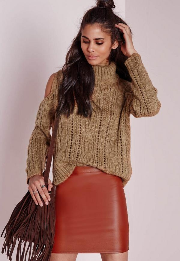 Cold Shoulder Roll Neck Cable Jumper Camel