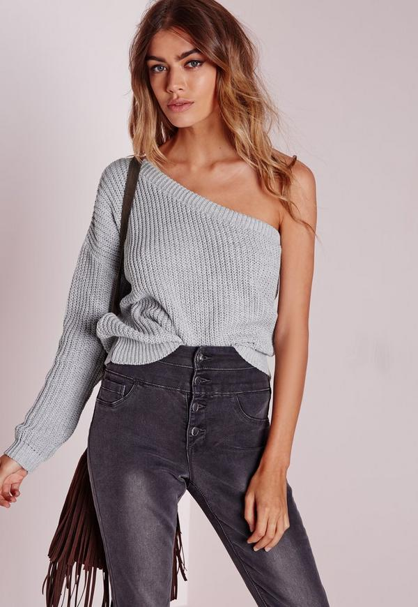 one shoulder jumper grey