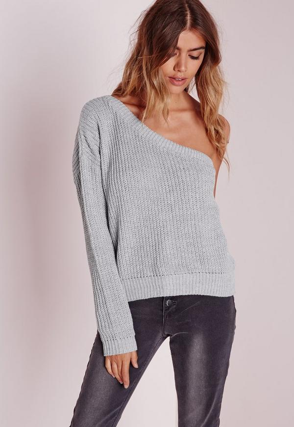 grey one shoulder sweater missguided
