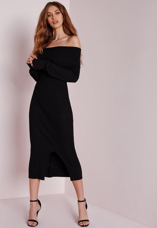 Bardot Knitted Midi Dress Black