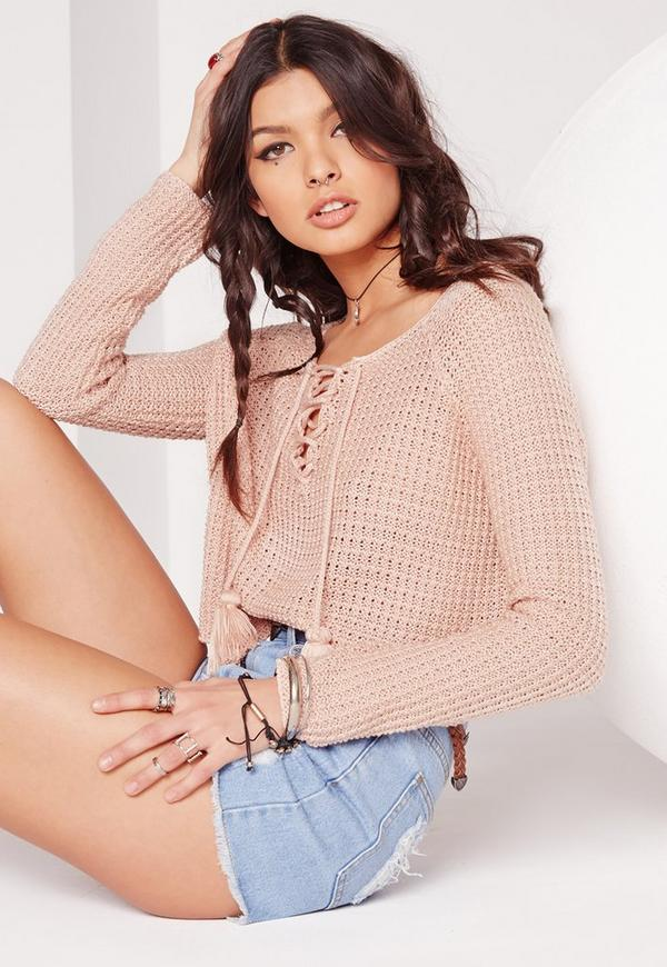 Long Sleeve Festival Lace Up Crop Jumper Nude