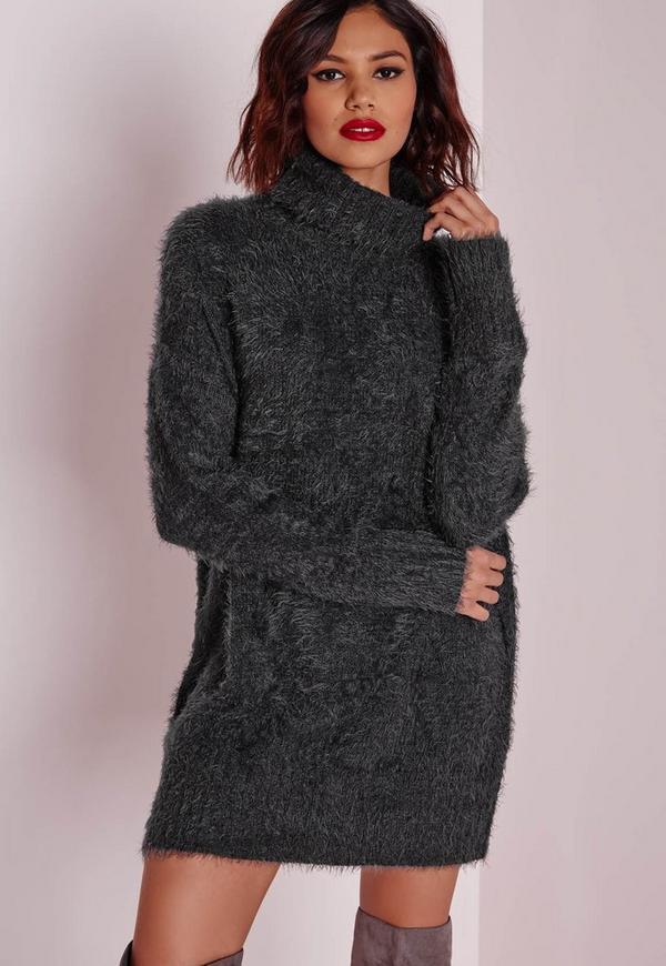 fluffy roll neck jumper dress charcoal missguided. Black Bedroom Furniture Sets. Home Design Ideas