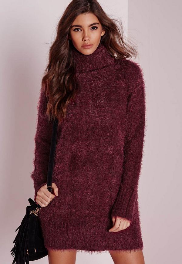 Fluffy Roll Neck Jumper Dress Burgundy