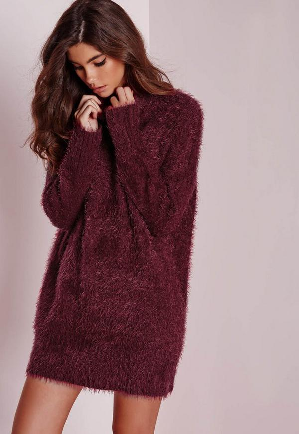robe pull en laine poilue bordeaux col roul missguided. Black Bedroom Furniture Sets. Home Design Ideas