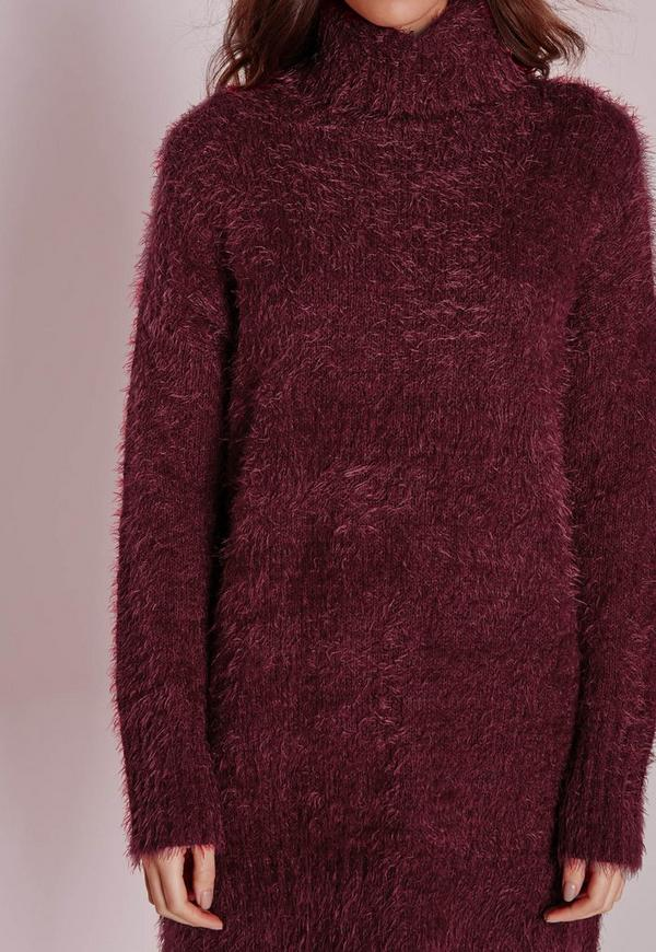 Fluffy Roll Neck Sweater Dress Burgundy Missguided