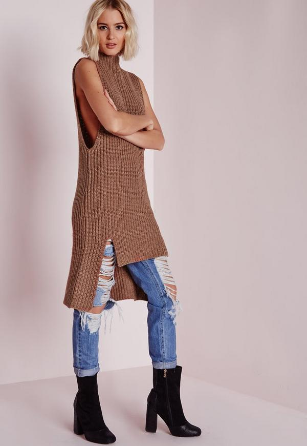 Sleeveless Funnel Neck Tunic Tan