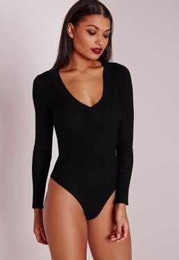Deep Plunge Bodysuit Black