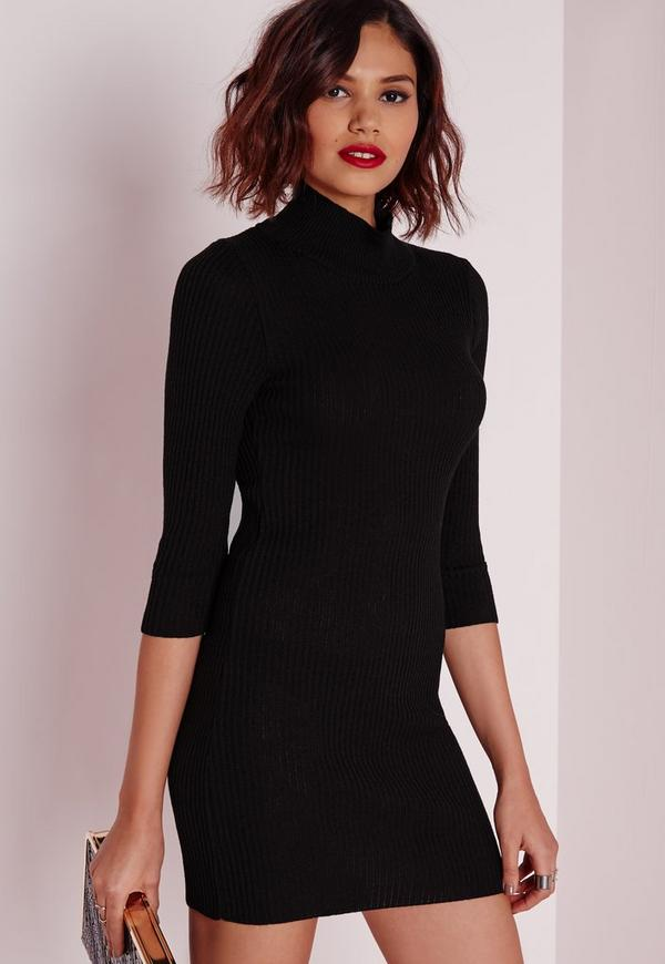 Mini Turtle Neck Knitted Dress Black