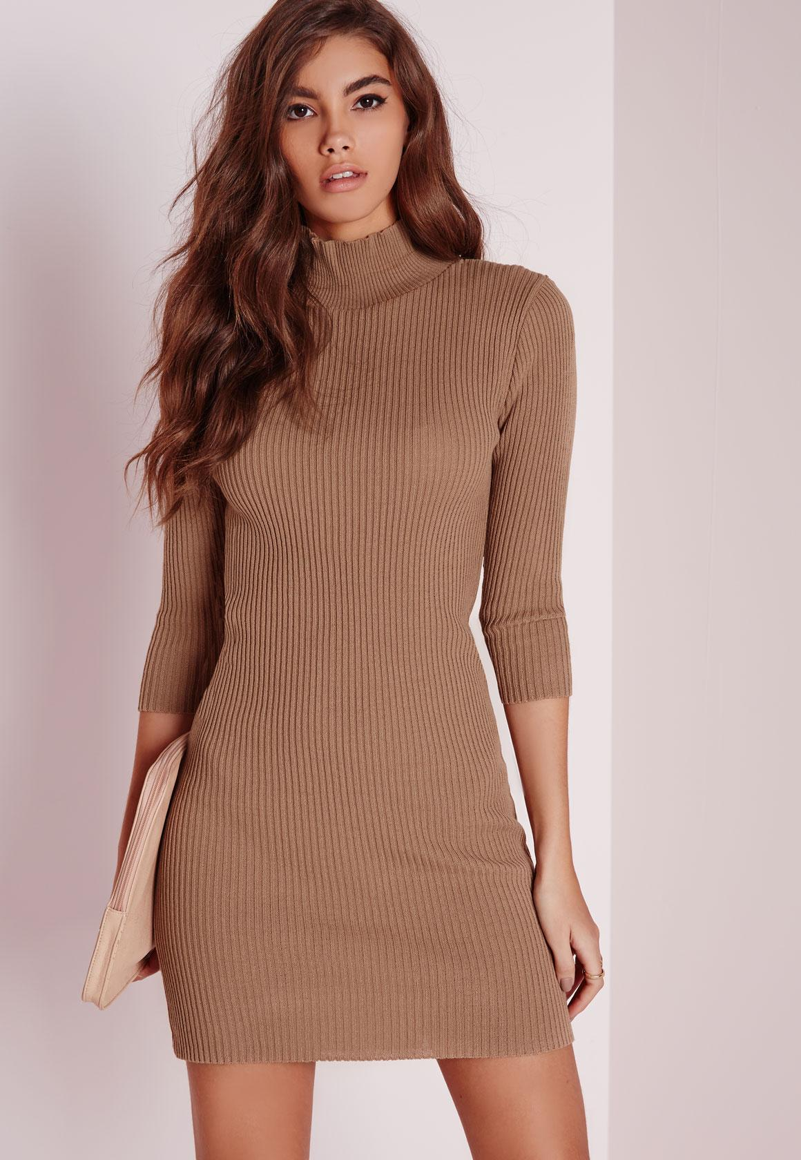 Mini Turtle Neck Sweater Dress Nude | Missguided