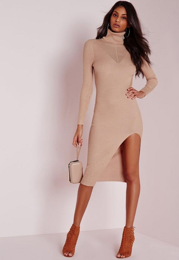 rib detail polo neck knitted dress nude