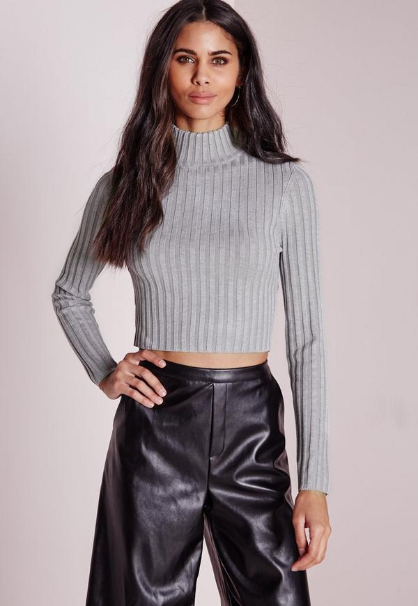 Long Sleeve Turtle Neck Knitted Crop Jumper Grey