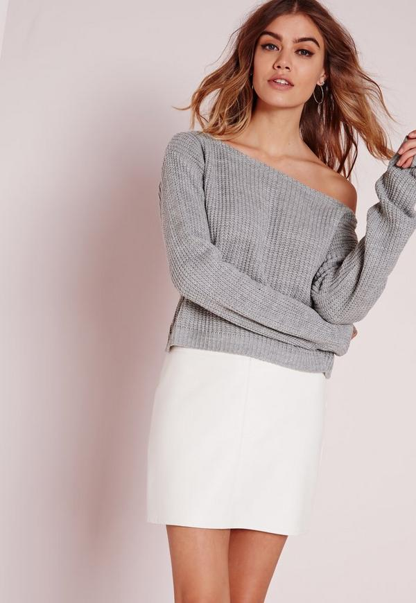 Off Shoulder Crop Jumper Grey