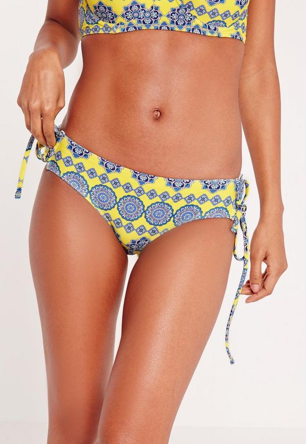 Printed Lace Up Bikini Bottoms Yellow