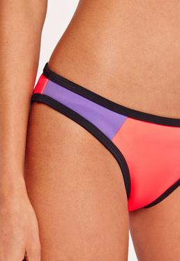 Bas de bikini color block en néoprène violet/orange