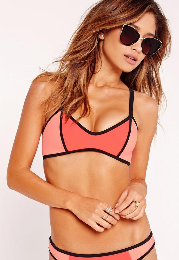 Neoprene Colour Block Bikini Top Orange