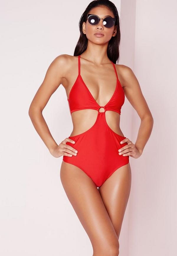 Cut Out Front Ring Detail Swimsuit Red