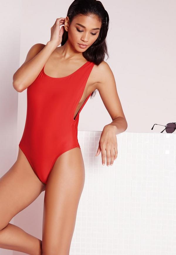 High Leg Drop Side Swimsuit Red | Missguided
