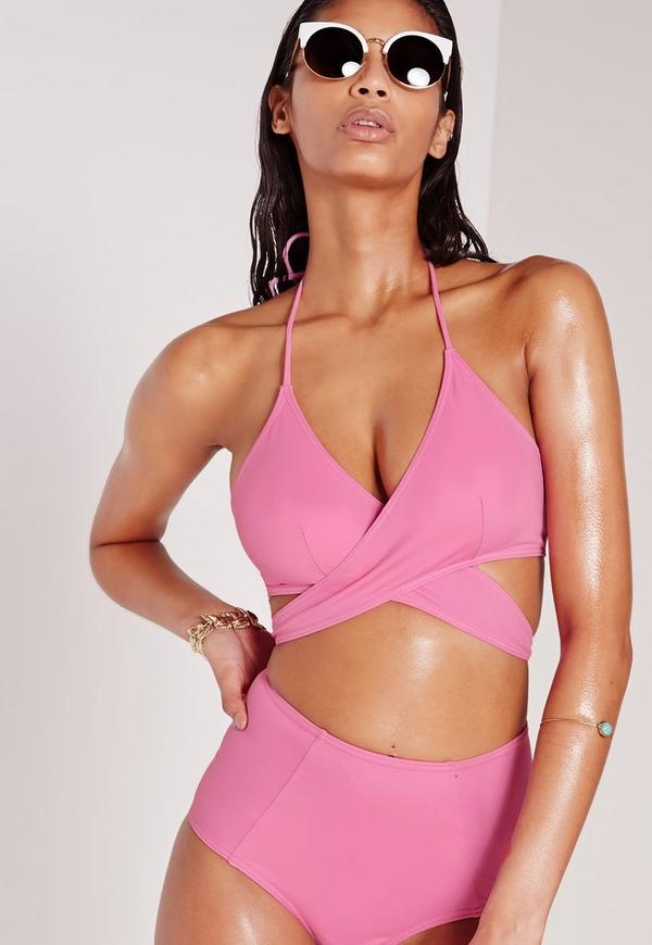 Cross Over Front Bikini Top Pink - Mix & Match