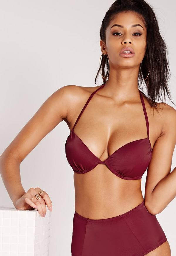 Underwired Push Up Bikini Top Burgundy - Mix & Match