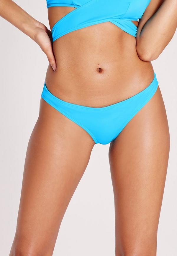 Regular Hipster Bikini Bottoms Cyan Blue - Mix & Match