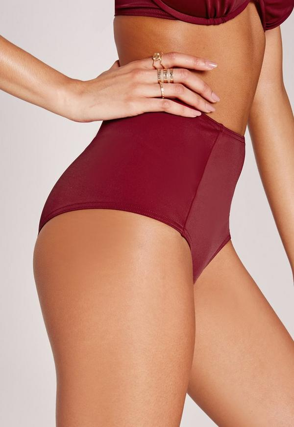 High Waisted Bikini Bottoms Burgundy - Mix & Match