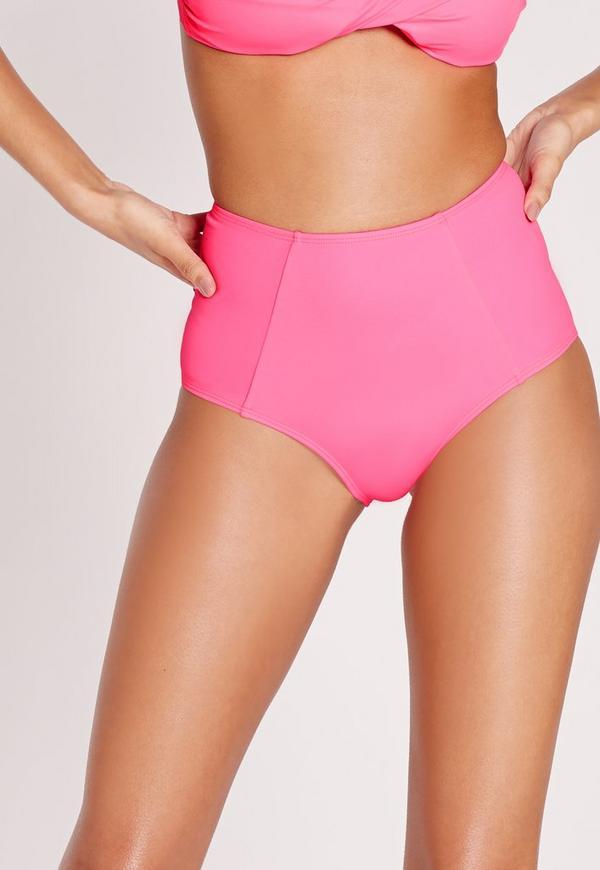 High Waisted Bikini Bottoms Hot Pink - Mix & Match