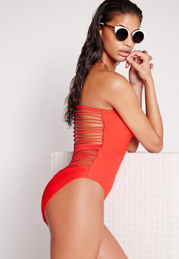 Strappy Back Swimsuit Red
