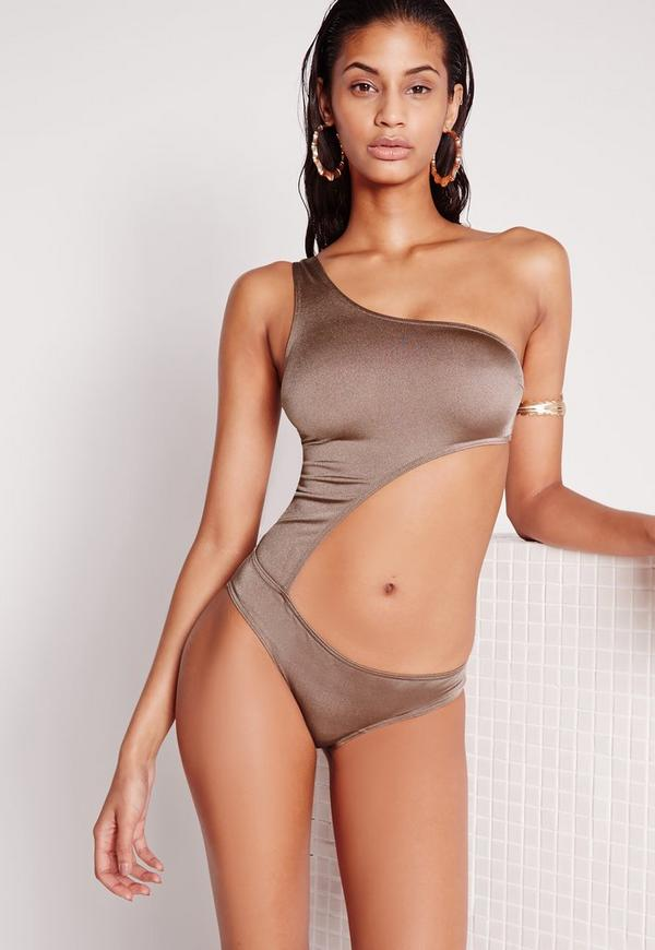Cut Out One Shoulder Swimsuit Gold