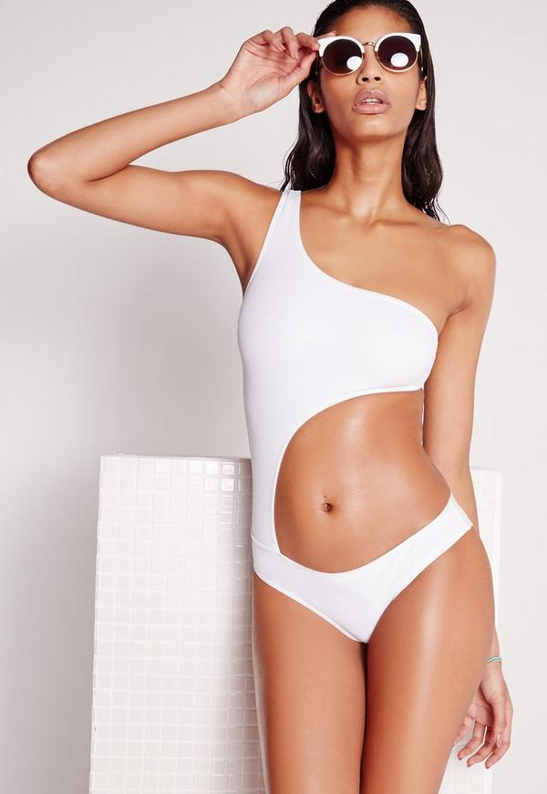 Cut Out One Shoulder Swimsuit White