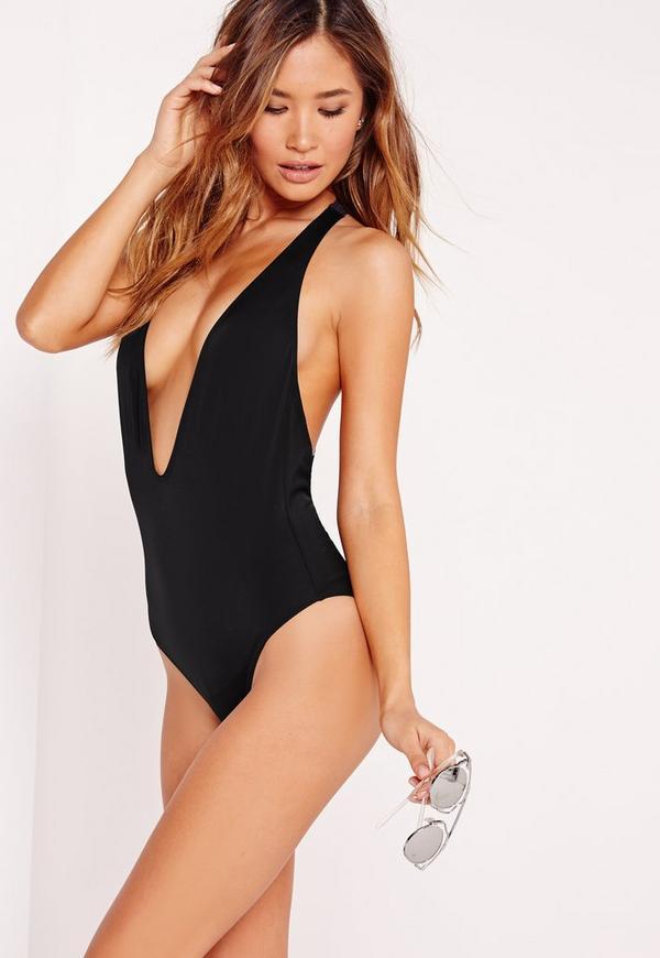 Braided T-Bar Back Swimsuit Black
