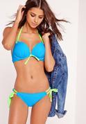 Push Up Contrast Bikini Set Blue