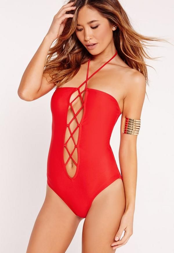 Lace Up Swimsuit Red