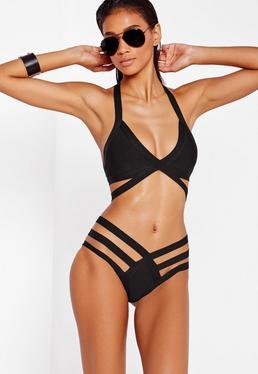 Strappy Bandage Plunge Bikini Black