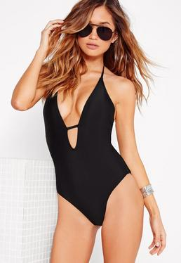 Halter Neck Plunge Swimsuit Black