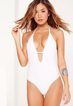 Halter Neck Plunge Swimsuit White